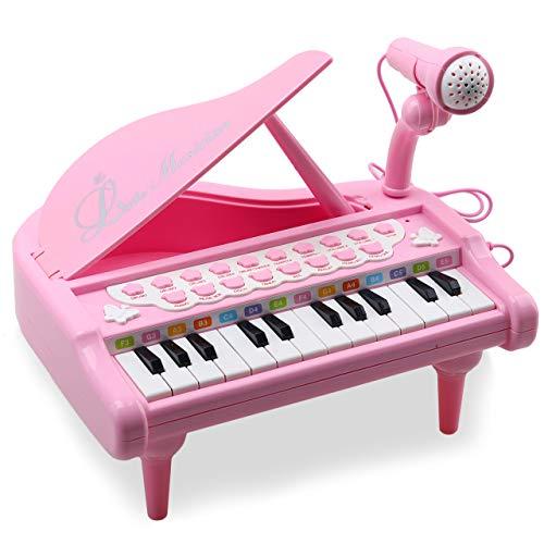 Amy & Benton Klavier Spielzeug Keyboard für Kinder, 24 Tasten Pink Electronic Educational Musikinstrument mit Mikrofon, Lernen-zu-Play Geschenk für Baby