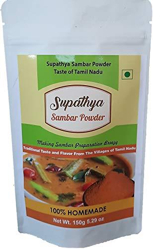 Supathya Sambar Masala Powder Podi Mix   Sambar Curry Powder  Homemade Indian Spice – Tamil Nadu Kitchen Style 150g 5.29 oz