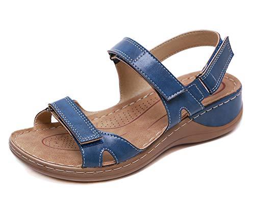 Open Toe Sandali Donna Premium Ortopedico Sandali Estivi Comode Cuoio Sandali con Zeppa Vintage Sportivi Sandali Scarpe da Spiaggia