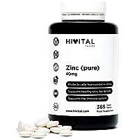 Zinc puro 40 mg procedente de Gluconato de Zinc | 365 comprimidos (Suministro anual) | Protege las células de la oxidación, mejora el sistema inmune, y mantiene los huesos, piel, cabello y uñas sanos.