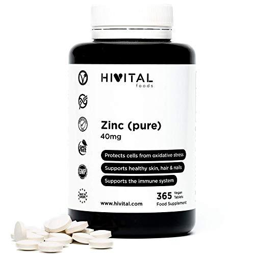 Zinc pur 40 mg obtenu à partir de Gluconate de Zinc | 365 comprimés végétaliens, 1 an de traitement | Aide à la cicatrisation, à maintenir la santé des os, de la peau, des cheveux et des ongles