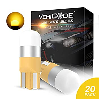 VehiCode 194 168 2825 W5W LED Bulb Amber Yellow 12V 158 192 2827 Lamp for Car Dash Instrument Panel Gauge Cluster 194A 194NA WY5W Turn Signal Marker Position Parking Cab Roof Running Light  20 Pack