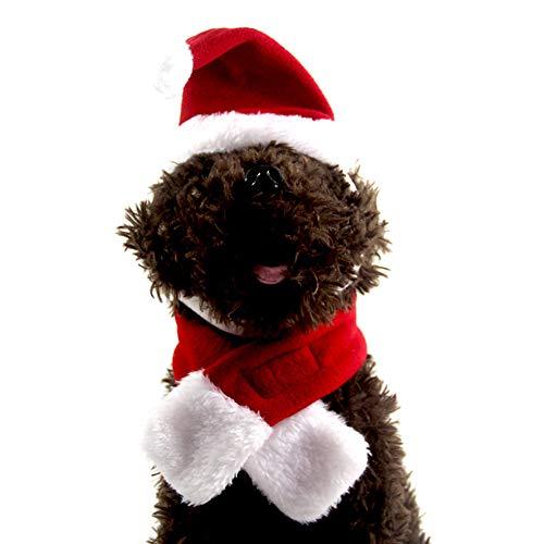 Ogquaton - 1 Juego de Sombrero de Papá Noel, Cuello Ajustable, Corbata para pequeñas Mascotas, Gatitos, Navidad, Cosplay, Set de Disfraces, Ropa de Festival, Ropa Creativa y útil