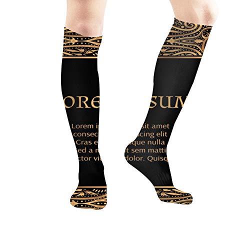 beautiful& Luxus Gold Schwarz Rahmen Islamische Feiertage Arabesque Vintage Sport Kompressionssocken, Athletic Socks, Lange Schlauchstrümpfe 50Cm / 19.7 Inch