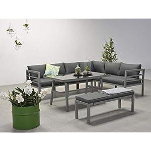 Garden Impressions Hohe Dining Aluminium Lounge Blakes Anthrazit Rechts, inklusive XL Bank und wasserabweisender Kissen