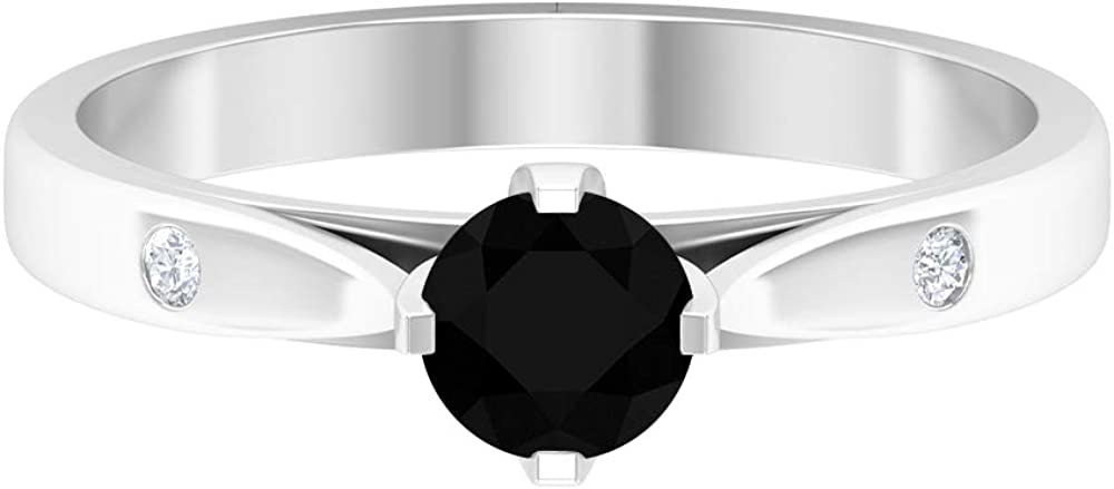April Birthstone - Solitaire Round Shaped 5 MM Black Diamond Ring with Diamond, Solid Gold Engagement Ring, 14K White Gold, BLACK DIAMOND ROUND, Size:US 4.0