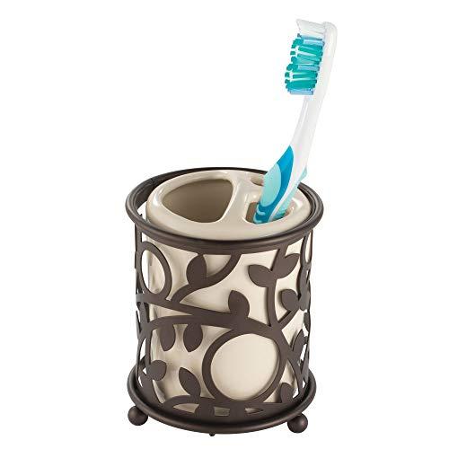 iDesign Vine Toothbrush Holder Stand for Bathroom Vanity Countertops - Vanilla/Bronze