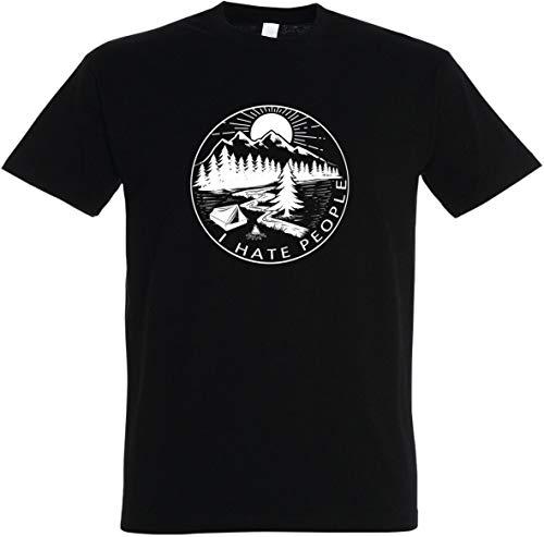 Herren T-Shirt I Hate People S bis 5XL (Schwarz, L)