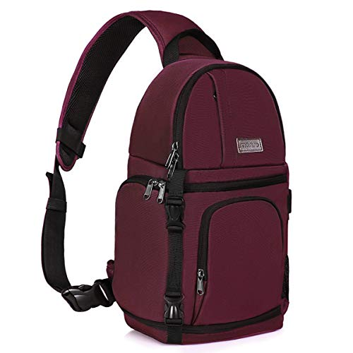 MOSISO Camera Sling Bag, DSLR/SLR/Mirrorless Camera Case Shockproof Photography Camera Backpack with Tripod Holder & Removable Modular Inserts Compatible with Canon/Nikon/Sony/Fuji, Wine Red