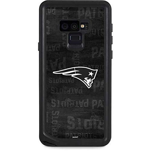 Skinit Waterproof Phone Case Compatible with Galaxy Note 9 - Officially Licensed NFL New England Patriots Black & White Design