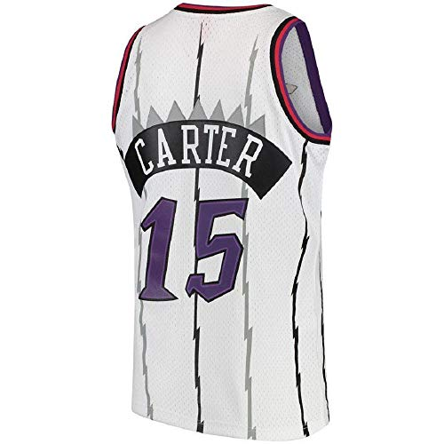 Men's Carter Jersey Basketball Athletics Jerseys Retro Jersey 15 White(S-XXL) (M)