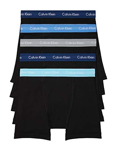 Calvin Klein Men's Cotton Classics 5-Pack Boxer Brief, Black Bodies W/Lake Crest Blue, Lake Crest Blue, Copenhagen Blue, Silk Blue, Blue Marin, L