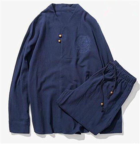 Herren Outdoor Sportbekleidung/Yoga und Meditation/Baumwoll Leinenanzüge/Top und Hose / 2 Stück, Blue, XXL