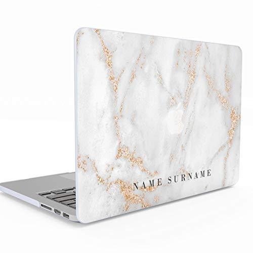 Funda Personalizada Blanca Oro Marmol Citar White Gold Marble Name Surname Quote Custom Macbook Pro 13 Pulgadas Retina Display NO CD-ROM Modelo: A1502 / A1425 Release 2012-2015, Hard Case Cover