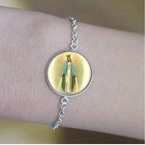 Pulsera con medalla de Virgen María, joyería de cristal, joyería para fotos