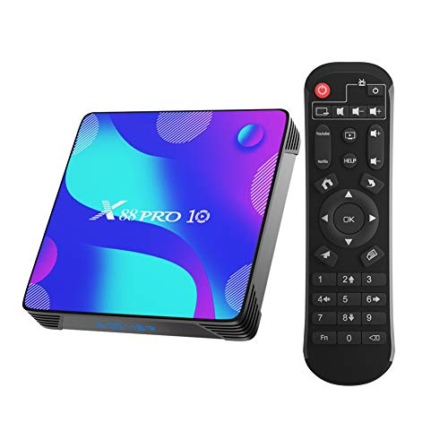 TV Box Android 10.0, X10 Smart Box 2GB RAM 16GB ROM RK3318 Quad-Core 64bit Cortex-A53 CPU 2.4GHz+5GHz WiFi 4K UHD Bluetooth 4.0 USB 3.0