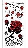 Etiqueta Engomada De Los Tatuajes Temporales Flor De Rosa Roja Para Adultos Hombres Mujeres Niños Impermeable Fake Body Art Cover Up Set Anchor Graphic 19x9cm 10pcs