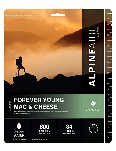 Alpine Forever Young Mac & Cheese Freeze-Dried/Dehydrated Entrée Meal Pouch, Just-add-Water, 2-Servings per Pouch, 19g of Protein per Serving
