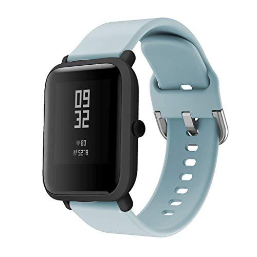 CYLIXIAN Correas de Reloj, Repuesto de Silicona para Xiaomi Huami Amazfit Bip Youth Watch (20mm, Azul Claro)