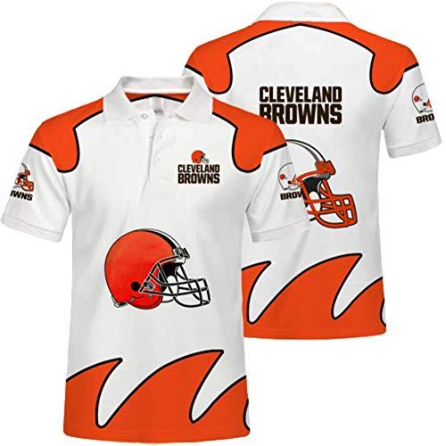 LTLZDYG NFL-Trikot, Cleveland Browns T-Shirt, Team-Unterstützer, sommerlich atmungsaktive 3D-Bedruckte Kurze Ärmel, Herren- und Damen-Poloshirts