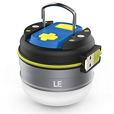 LE Portable LED Camping Lantern with Magnetic Base 3000mAh Power Bank USB Rechargeable 280lm LED Tent Light 3 Modes IPX4 Water Resistant Lamp for Hiking Fishing Indoor Outdoor Emergency
