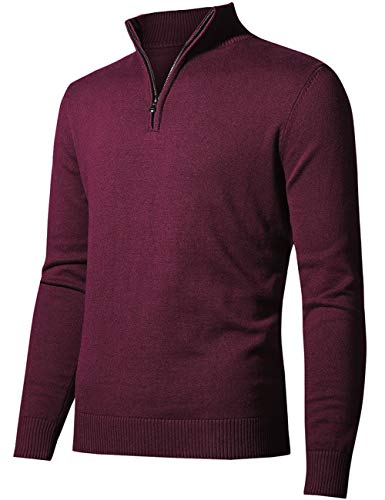 aoli ray Homme Golf Pulls 1/4 Zip Coton Manche Longue...