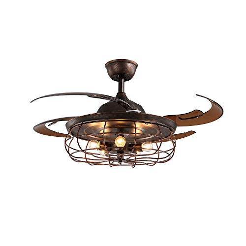 APBEAMLighting Ceiling Fan Light Retractable Blades Reverse Industrial Vintage Pendant Lamp with Remote Control for Kitchen Bedroom Rusty 48 Inch 5 Light 4 Fan Blades