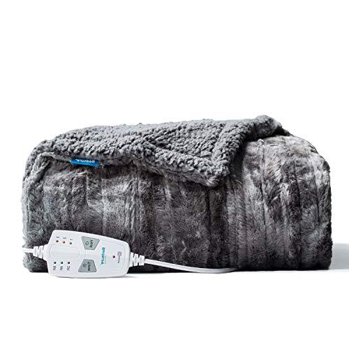 Bedsure Wärmedecken Heizdecken mit Abschaltautomatik Überhitzungsschutz, 3 Temperatursstufen elektrische kuschelheizdecke mit Timer heated blanket, beheizbare Decke fürs Bett, 130x150 cm Grau