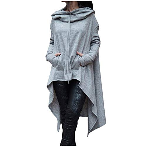 Aniywn Women's High Low Long Hoodies Sweatshirts Long Sleeve Pullover Sweater Dress Lightweight Women Cloak Tunic Tops Grey