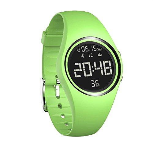 TPulling Mode Smart Pulsera t5e Inteligente Reloj de Pulsera Smart Watch Sport Exterior Resistente al Agua 3D Podómetro Calorías Supervisión Fitness Smart Pulsera Reloj Deportivo, Verde