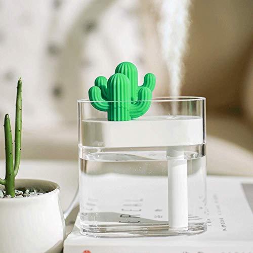 HAOKAN Humidificador de cactus USB con luz nocturna, pequeño humidificador de escritorio con volumen de niebla silenciosa y pesada, apto para dormitorio, mesita de noche, oficina (transparente)