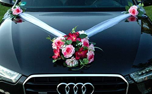 Autoschmuck Spitze STRAUß Auto Schmuck Braut Paar Rose Deko Dekoration Hochzeit Car Auto Wedding Deko PKW (SS GER Rosa)