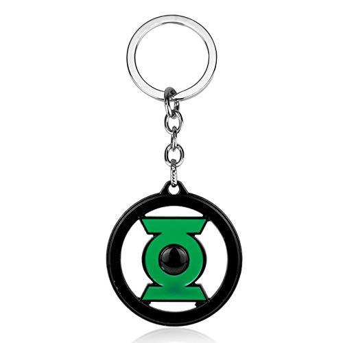 ZYLL Joyería de película Suoerman Green Lantern Logo Colgante Llavero Collier Gargantilla Accesorio de Verano llaveros de Regalo de Coche para Mujer Hombre