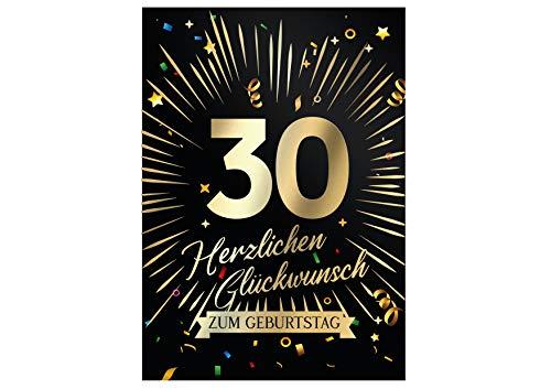 Friendly Fox Geburtstagskarte runder Geburtstag - 30. Geburtstag Glückwunschkarte zum Geburtstag - große Happy Birthday Karte inkl. Umschlag - Klappkarte 30 Geburtstag Karte Männer Frauen