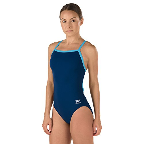 Speedo Female One Piece Swimsuit - Solid Flyback Training Suit, 30, Navy/Blue