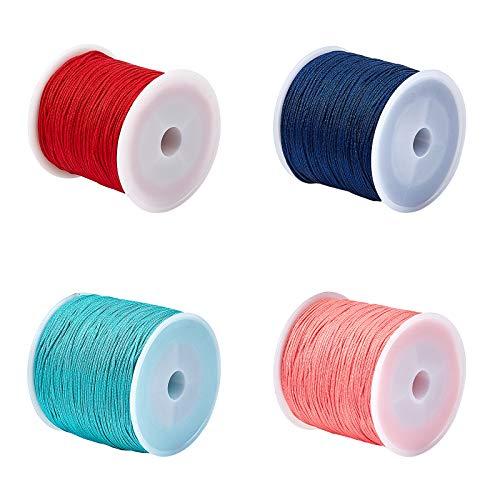 UNICRAFTALE 100 m/Rollo 4 Colores 0.8 mm Hilo de Nailon para Pulsera Cordón de Hilo de Abalorios Hilo de Hilo Trenzado de Nailon Hilo de Nailon para Hacer Pulseras de Joyería con Abalorios