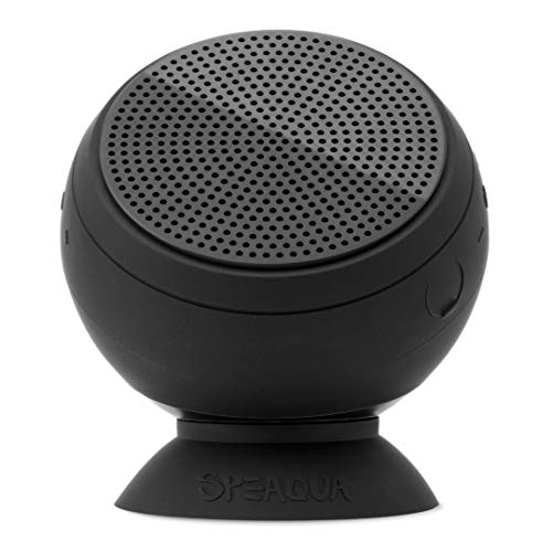 Speaqua - Waterproof, Floatable, Loud, Bluetooth Speaker - Dual Pairing for Surround Sound - Removable Suction - Barnacle Vibe 2.0 (Manta Ray Black)