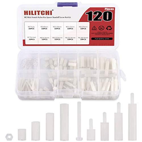 Hilitchi - Kit de tuercas de latón para tornillos M2 macho hembra (latón M2)