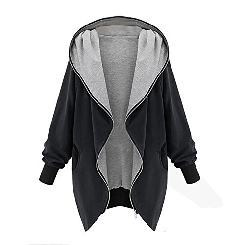OIKAY Winter Hoodie Damen Mantel Windbreaker Sweatshirt Damen Zipper Hoodie Kapuzen Jacke Parka Trench Tops Windbreaker Damen