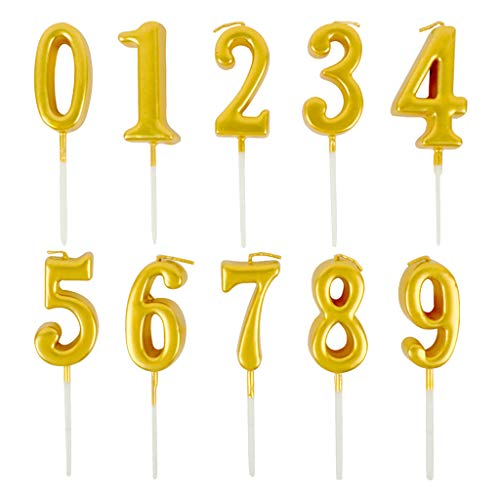 Feelairy 10 Pieces Birthday Cake Candles Number Candles Number Candle 0-9 Glitter Cake Topper Happy Birthday Cake Topper for Birthday Cake Party Gold