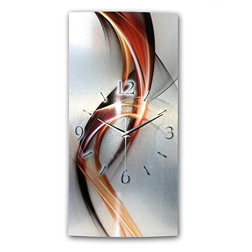 Kreative Feder Abstrakt Metallic Designer Funk Wanduhr Funkuhr modernes Design * Made in Germany* WAG246FL-X * leise kein Ticken