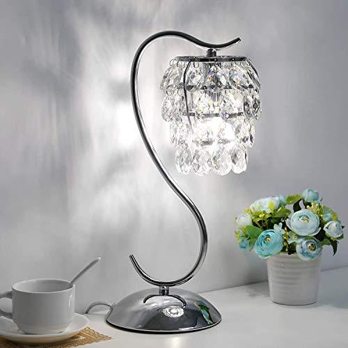 Lámpara de mesa de control de cristal, lámpara de noche regulable de 3 vías con lámpara de mesita de noche de corte de cristal, lámpara de plata de metal plateada, lámpara decorativa para dormitorio,
