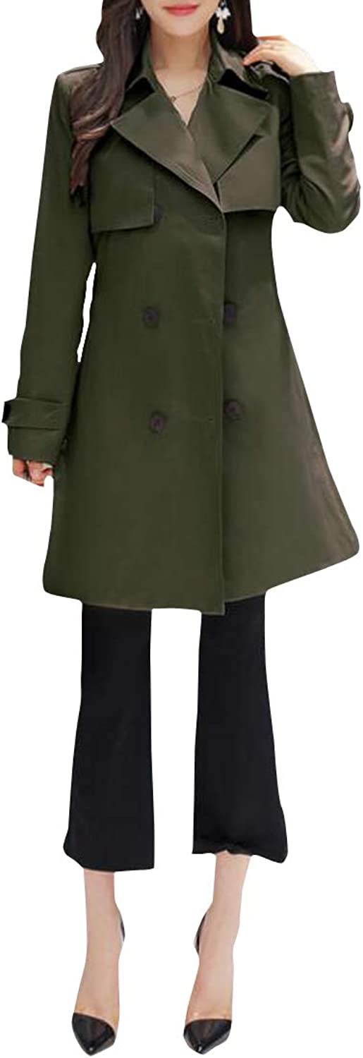 Cromoncent Women's Double Breasted Slim Outerwear Overcoat MidLong Trench Coat