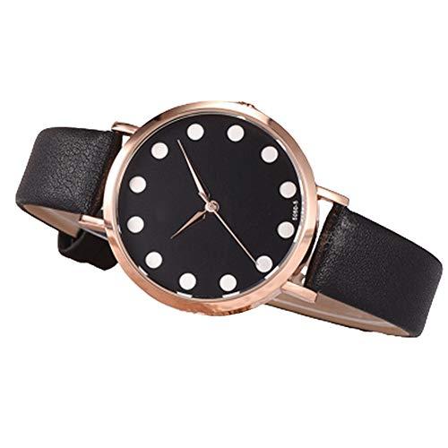KingbeefLIU Reloj XR4435 Mujeres White Dot Faux Leather Band Reloj De Cuarzo Star Design Conjunto De Pulsera # 11