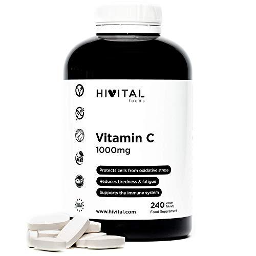 Vitamine C 1000 mg | 240 comprimés végétaliens (8 mois de traitement) | Antioxydant qui réduit la fatigue, protège les cellules du stress oxydatif et améliore le système immunitaire