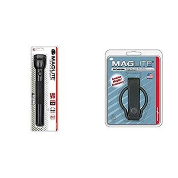 Mag-Lite ST3D016 3 D-Cell Lampe Torche LED Métal Noir 31,5 cm & Maglite 108-000-926 Anneau de ceinture ML pour lampe charger noir