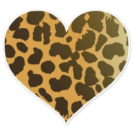 INDIGOS UG Aufkleber Autoaufkleber JDM Die Hart - Cheetah Tier Giraffe Muster Herz Auto bumper 101mm x101mm 101mmx101mm