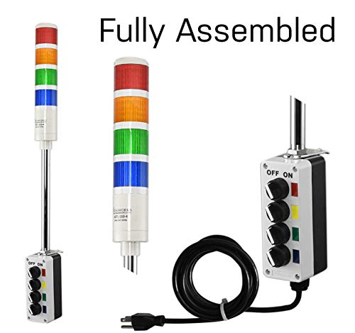 Signaworks 4 Stack Super Bright LED Andon Tower Light, Off-Steady, Red/Amber/Green/Blue, 8 ft Power Cord, Plug & Play Ready