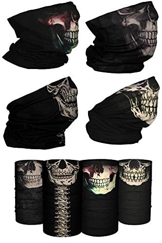 [4 Pack] UV Cooling Skull Neck Gaiters   UPF 50+ Sun/Wind/Dust Protection   Multipurpose Neck Gaiter for Men and Women   Summer Buff Tube Bandana Gaiter Mask Seamless Face Cover Shield
