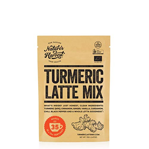 Nature's Harvest Turmeric Latte Mix | Organic Golden Milk Tur Latte Powder for Hot & Iced Coffee, Tea & More| 7 Powerful Spices & Healthy Curcumin Infusion | Zero Additives | 100% Vegan | 35 Servings